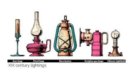 Illustration pour Vector hand drawn illustration of XIX century lightings evolution. Auer lamp with gas mantle, Barn lantern, kerosene and carbide lamps, Edison Light bulb. Isolated on white background.   - image libre de droit