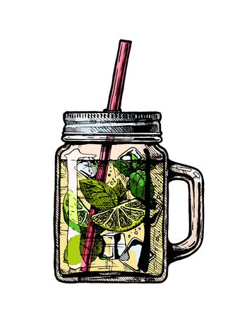 Illustration pour Vector hand drawn illustration of lemonade cocktail in drinking jar. Isolated on white background.   - image libre de droit