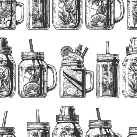 Illustration pour Seamless pattern with lemonade in mason jar in vintage engraved style. On white background. - image libre de droit