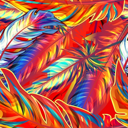 Exotic feather. seamless bright texture