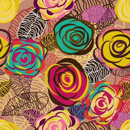 Abstract seamless lilac vector texture with bright drawing roses