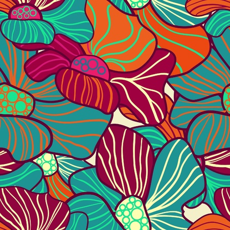 Abstract seamless vector pattern with bright flowers