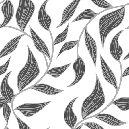 Abstract seamless vector pattern with drawing leafs