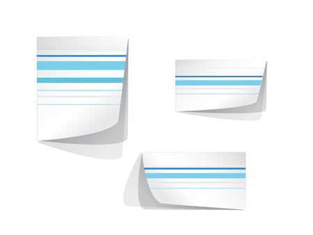 Vector white stickers with blue stripes