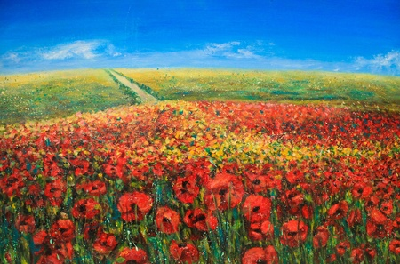 Photo for Acrylic landscape with blue sky and red poppies - Royalty Free Image