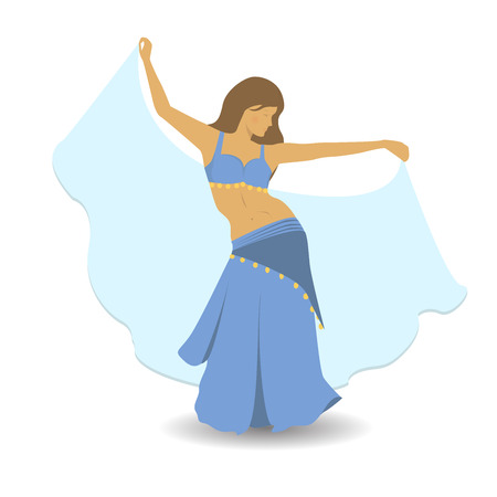Beautiful girl in blue suit dancing belly dance. Oriental dancing flat style vector illustration. Belly dancer in traditional dress. Professional long haired woman dancing.