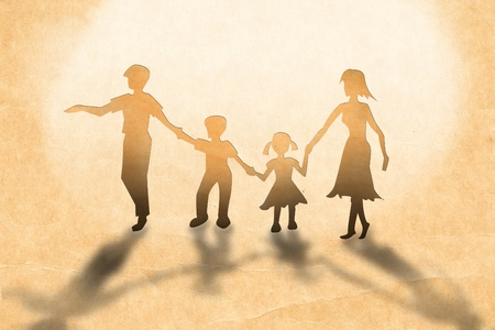 Warmth family concept, make for cut out of paper on vintage paper