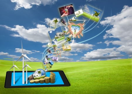saving energy stream images from tablet pc on the field with solar cell and wind turbine