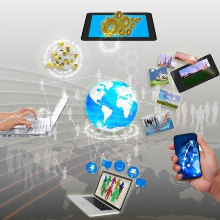Photo pour share streaming information, synchronization, cloud networking - image libre de droit
