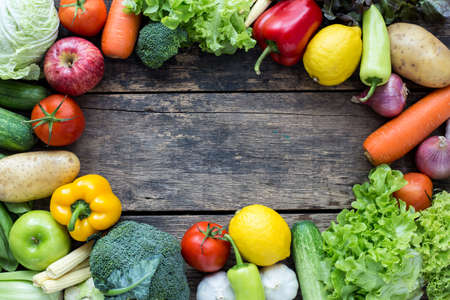 Photo for Top view of fruits and vegetables on the old wood table With copy space - Royalty Free Image