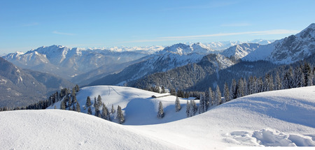 alpine winter landscape, snow covered skiing area upper bavaria
