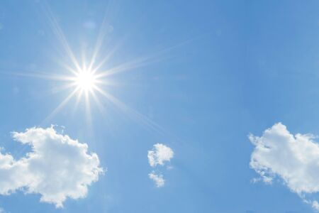blue sky with clouds and bright sun, free space