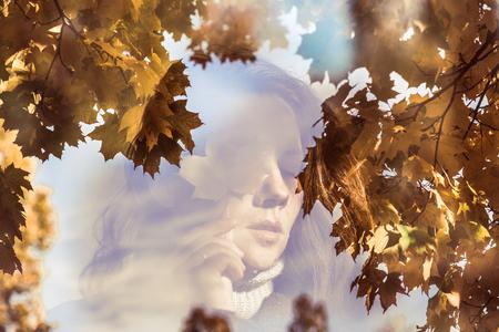 Photo pour Double exposure portrait of attractive lady in the autumn leaves - image libre de droit