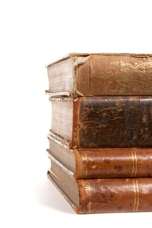 stack of retro books isolated on white background