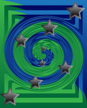 Whirlpool of blue and green with gray stars