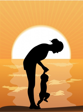 Silhouette mother leads the child s hands in the sunset by the sea