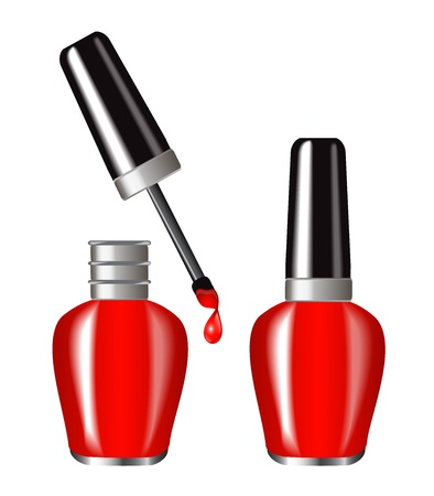 bright red nail polish in a brilliant flakone Butylka displayed in the open and closed form A drop of paint dripping from brush