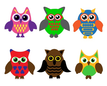 collection of six different colored cartoon owls on a white backgroundのイラスト素材