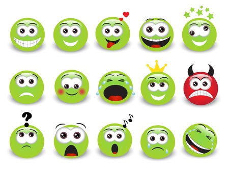 Set of green expressive emoticons with shadow