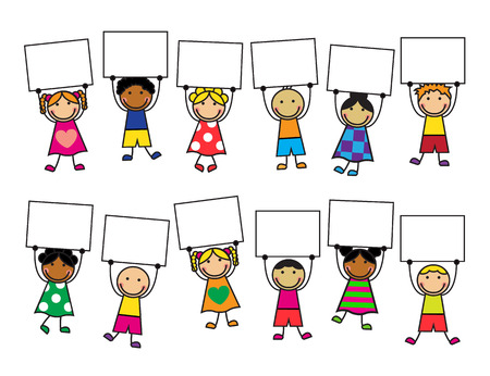Cartoon kids in bright clothes with placards in their hands