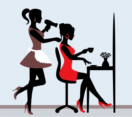 female silhouette in hairdressing salon  Hairdresser makes hair styling for client