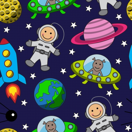 Cartoon seamless space with an astronaut  planets stars and rocket
