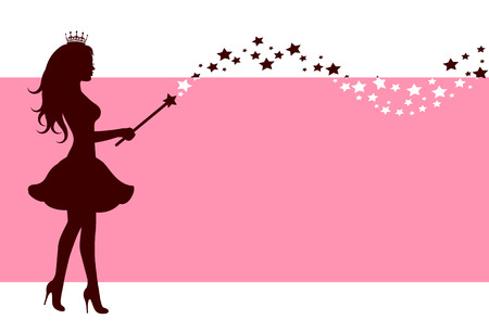 Pink background with a silhouette of a fairy with a magic wand stars