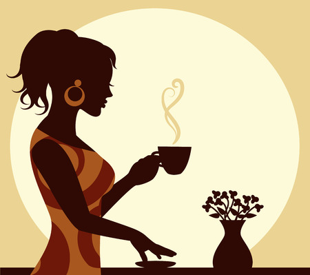 woman with a cup of steaming coffee in hand