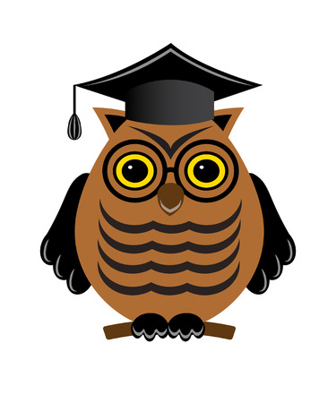 wise owl with glasses and a graduate hat on a white background