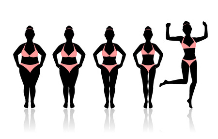 silhouettes of women losing weight. Last silhouette in a jump. women Glad I was able to lose weight