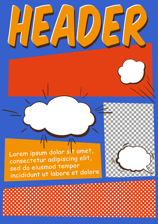 Editable Comics Page or Flayer Template With Comics Elements