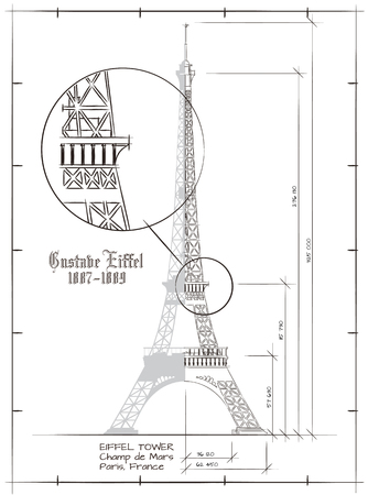 Architectural Technical Drawing of Eiffel Tower Vintage Style