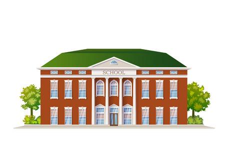 Illustration pour Vector Color Classic School Building Illustration Isolated On White - image libre de droit