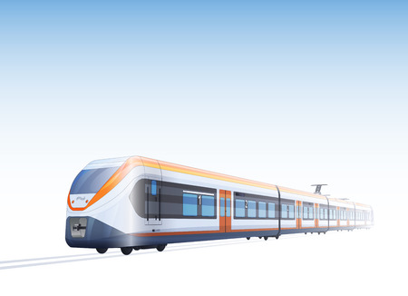 Illustration pour Photo Realistic Vector Color Drawing Of Hight Speed Passenger Train - image libre de droit