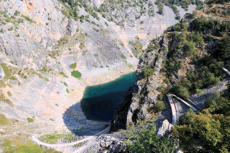 view on blue lake in Imotski, Croatia