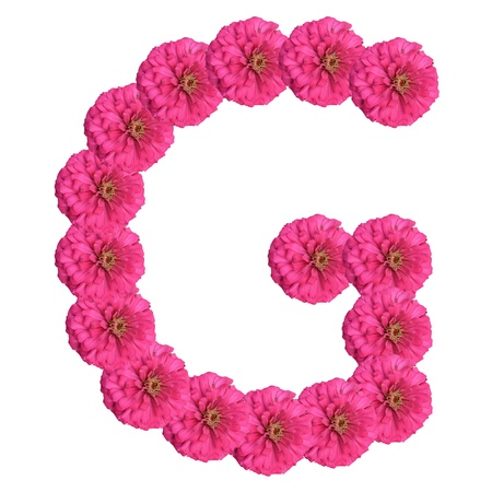 Letters made of flowers and isolated on white, G