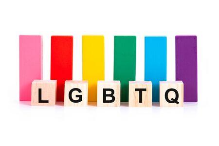 Photo pour Alphabetic of LGBTQ and colorful wooden block on white background. Concept of LGBT activism. - image libre de droit