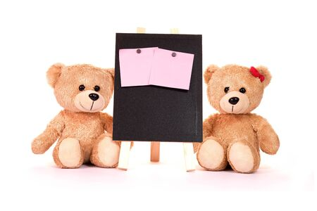 Photo for Teddy bear and post-it notes with blackboard on a white background Valentine concepts and love. - Royalty Free Image