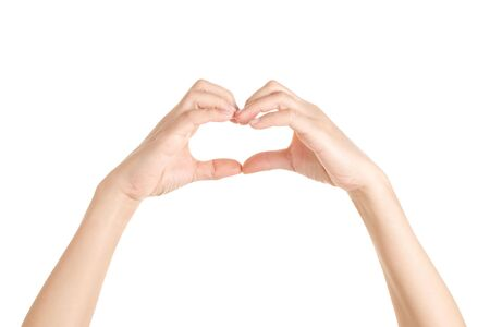 Photo for Hands in shape of love heart on white background, Valentine and love concept. - Royalty Free Image