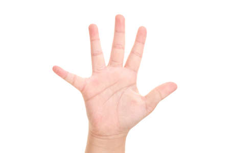 Photo for Boy's hand shown five finger symbol on isolated white background for graphic designer. - Royalty Free Image