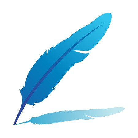Blue feather -illustration isolated on white
