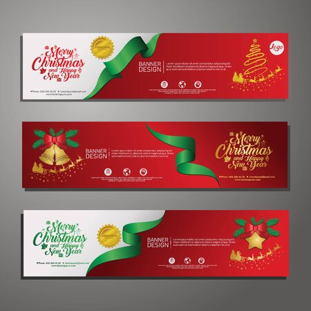 Illustration pour Three Christmas horizontal banners with santa claus, jingle bells, ribbons and stars. New year and Christmas card illustration on background. for publications event - image libre de droit