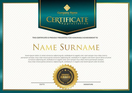 Illustration pour luxury and elegant modern certificate template with texture pattern background. - image libre de droit