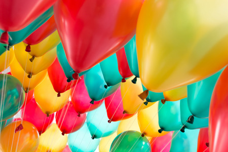 Foto de colorful balloons with happy celebration party background - Imagen libre de derechos