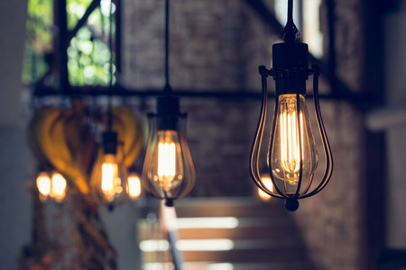 Photo for light lamp electricity hanging decorate home interior in christmas day - Royalty Free Image