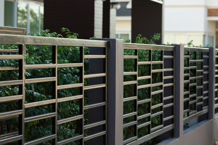 Photo for black steel fence of residential house modern style - Royalty Free Image