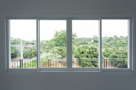 Foto de glass window sliding on white wall interior house - Imagen libre de derechos