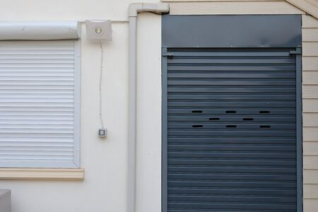 Photo for black roller shutter door closed security in house - Royalty Free Image