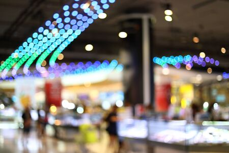 Photo pour abstract blur background image of business shopping mall department store with colorful light interior decoration - image libre de droit