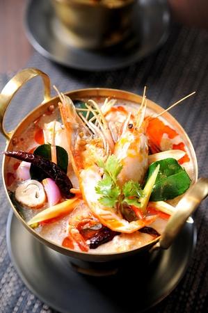 Tom Yum soup, a Thai traditional spicy prawn soup
